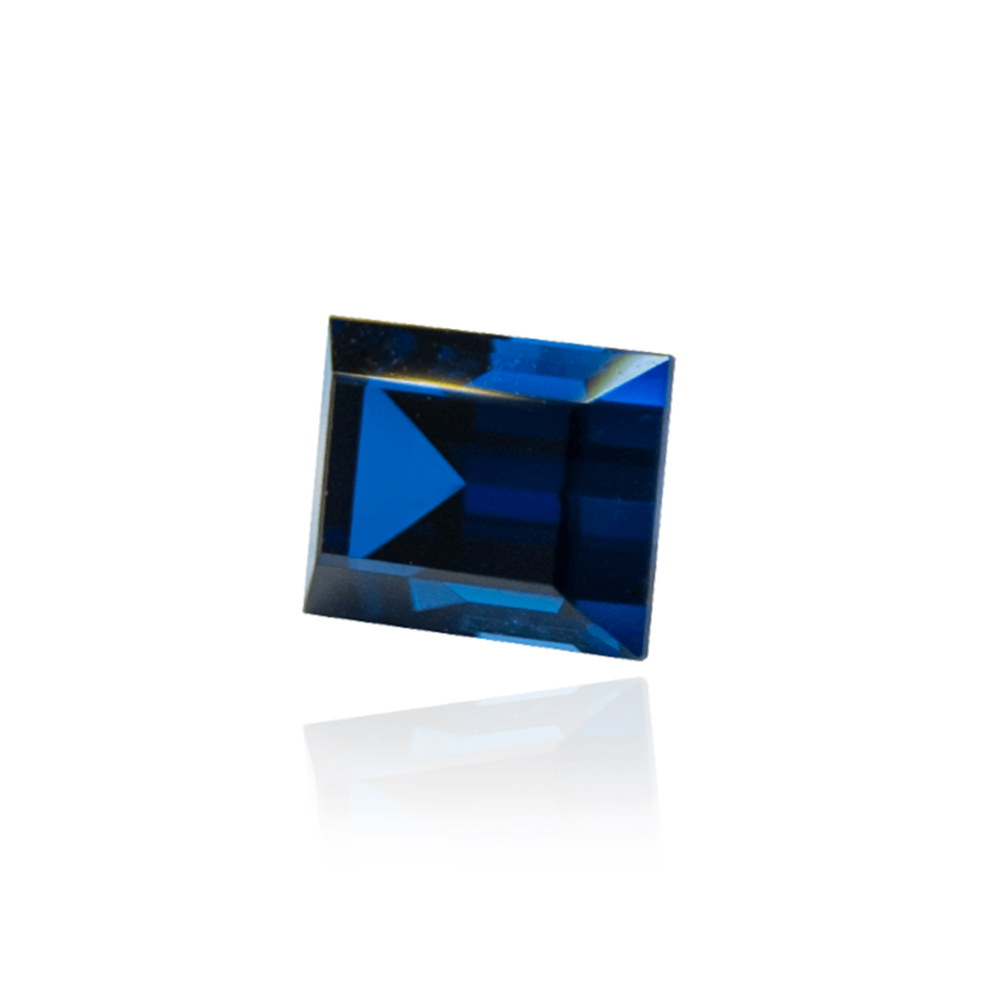 гидротермальный выращенный сапфир sapphire корунд огранка багет ступенчатая огранка