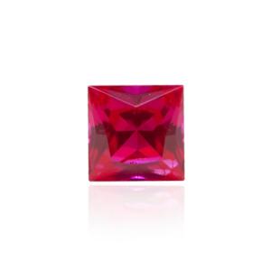 гидротермальный выращенный рубин ruby корунд огранка бриллиантовая форма каре принцесса