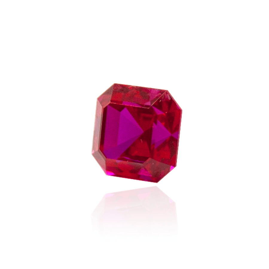 гидротермальный выращенный рубин ruby корунд форма камня ашер огранка ступенчатая