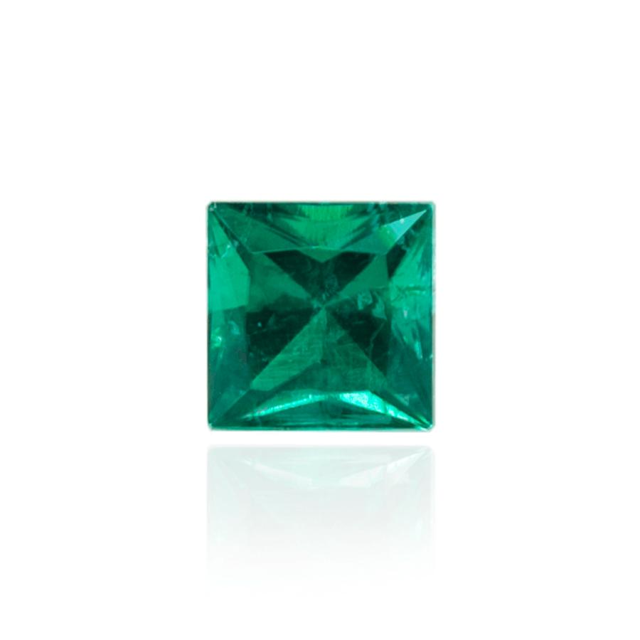 гидротермальный выращенный колумбийский изумруд  hydrothermal emerald форма квадрат каре принцесса бриллиантовая огранка