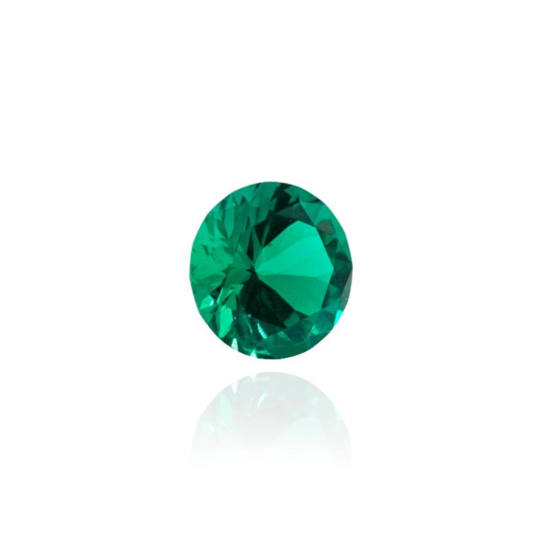 гидротермальный выращенный колумбийский изумруд  hydrothermal emerald форма круг бриллиантовая огранка